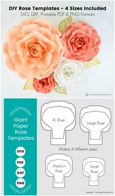 Set of 4 Paper Rose Templates, Paper Rose Flower SVG Cut Files and PDF Printable Pattern, Extra Large, Large, Medium and Small Big Paper Flowers, Paper Flower Wall, Flower Wall Decor, Paper Roses, Diy Flowers, How To Make Paper Flowers, Paper Dahlia, Paper Peonies, Potted Flowers