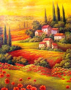 "Tuscan Paintings | 113: ""Rolling Hills of Tuscany"" Handmade Oil Painting : Lot 113"