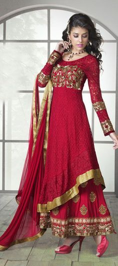 409435, Party Wear Salwar Kameez, Net, Jacquard, Machine Embroidery, Resham, Zari, Thread, Lace, Red and Maroon Color Family