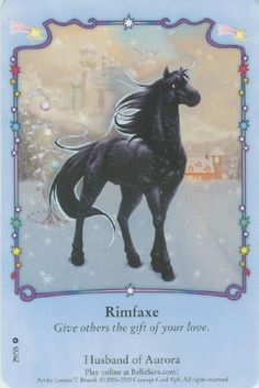 Rimfaxe is a deep indigo stallion with black eyes that sometimes appear as citrine. Rimfaxe is a very loving horse. Unicorn Horse, Unicorn Art, Magical Creatures, Fantasy Creatures, Pegasus, Bella Sara, Fortune Cards, Horse Cards, Horse Illustration