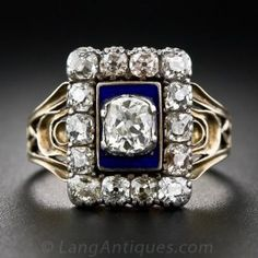 "An amazingly pristine original Georgian diamond ring dating from the early-nineteenth century, inscribed on the back - ""W.P.J. Master died 21 Dec 1818 Aged 86"". This ravishing rarity features a .35 carat antique cushion-cut diamond against a dramatic cobalt blue enamel background, framed by glistening table-cut diamonds. The distinctive ring shank foreshadows the graceful Art Nouveau designs. A truly magnificent memento - almost two centuries old."