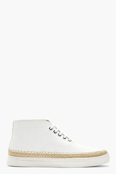 ALEXANDER WANG White Leather Mid-Top Asher Sneakers