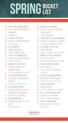 50 Things To Do This Spring/Summer! I love #bucketlists