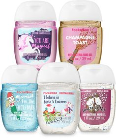 Includes Christmas Berry, Winter Waters, Magical Melon, Cotton Candy Clouds & Champagne Toast Germs never take a holiday, so keep them from ruining your Bath Body Works, Bath N Body, Cotton Candy Clouds, Unicorns And Mermaids, Perfume, Mini Hands, Bath And Bodyworks, Types Of Nails, Hand Sanitizer