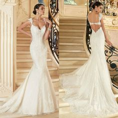 new Elegant lace wedding gown bridal dress custom size 4 6 8 10 12 14 16+HOT