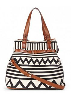 Graphic black and white tote