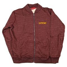 SUPREME ZIP UP SWEATSHIRT - L - LARGE - RED BURGUNDRY LOGO ZIPPER JACKET COAT