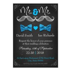 Moustache and bow for Mr and Mr Card