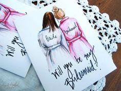 Bridesmaid PDF Brunette Bride and brunette by aprilheatherart