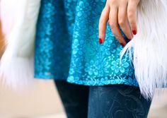 shaggy faux fur, lace, blue paisley