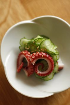 Good stuff, too! I've tried it!  Sunomono - Japanese Boiled Tako Octopus & Cucumber Salad|タコの酢の物