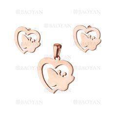 juego dije y aretes de corazon con mariposa especial rosado acero inoxidable -SSSTG1033905