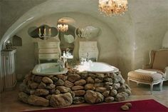 River Rock Bathroom. Hate the rocks but love the pair of tubs idea.