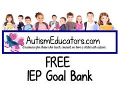 Do you need ideas and resources for writing students IEP Goals? Browse through our free IEP Goal Bank! Autism Classroom, Special Education Classroom, Autism Teaching, Autism Education, Inclusion Classroom, Physical Education, Autism Resources, Teacher Resources, Teacher Wish List