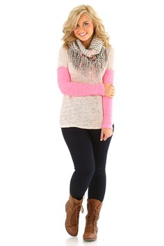 Make You Love Me Sweater: Beige/Pink LOVE THE COLOR COMBINATION #shophopes