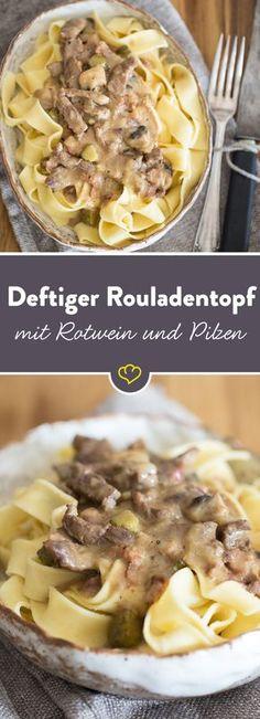 Roulade ohne Rollen: Unser Rouladentopf vereint zartes Rindfleisch, herzhaften Bacon, saure Gewürzgürkchen und das fein-scharfe Aroma von Senf. (Food Recipes Fish)
