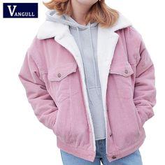 women collar buttons autumn winter jacket corduroy windbraker coat outwear 2017 harajuku pink gray Thick Cotton Coat Jacket #Affiliate
