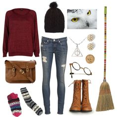 Harry Potter - I actually love this outfit! Reminds me of Katie who got cursed. Harry Potter Mode, Estilo Harry Potter, Harry Potter Style, Harry Potter Outfits, Movie Inspired Outfits, Themed Outfits, Fandom Fashion, Geek Fashion, Harry Potter Kleidung