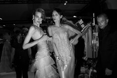 Journal of Fashion Week Haute Couture in Paris, Day 2 Backstage parade Giorgio Armani Prive Haute Couture Fall-Winter 2013-2014 in Paris