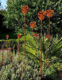 Garden Sculpture crafted from rusted metal, inspired by the seed head of the Cow Parsley plant. As part of a planting scheme the sculptures add year round interest in the garden.