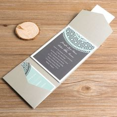 """mint green and gray pocket printed lace wedding invitations//Use coupon code """"rpin"""" to get 10% off towards all the invitations. #elegantweddinginvites"""