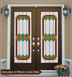 Cambridge II Door Panel (Privacy or See-Thru) - Warm tomes of amber, green and chestnut combine to create a strong, yet peaceful design. Stained Glass Window Film, Stained Glass Door, Leaded Glass, Large Windows, Windows And Doors, Window Films, Panel Doors, Glass Design, Glass Panels
