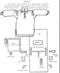 Camicia uomo 19th century Historical Costume, Historical Clothing, Sewing Clothes, Diy Clothes, Clothing Patterns, Sewing Patterns, Mens Shirt Pattern, 17th Century Clothing, 18th Century Costume