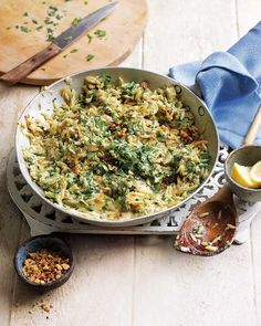 Orzo replaces rice in this cheesy risotto-style recipe. Less stirring is required making it quick and easy to make – ready to serve in 30 minutes it's perfect for any day of the week. Leek Recipes, Orzo Recipes, Walnut Recipes, Risotto Recipes, Veggie Recipes, Vegetarian Recipes, Cooking Recipes, Healthy Recipes, Budget Cooking