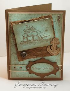 Stampin' Up! Masculine Birthday Card by Georgeann Manning at 'Me' Time