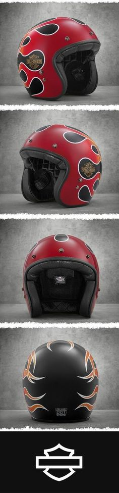 Takes inspiration from the Wide Glide motorcycle tank graphics.   Harley-Davidson Retro Flame 3/4 Helmet