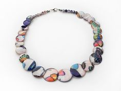 Multi Color Painted Shell Necklace with Lobster Clasp