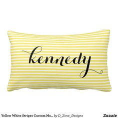Yellow White Stripes Custom Monogram Pillows