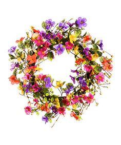 Watercolor Floral Outdoor Wreath #zulily #zulilyfinds