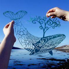 LIMITED EDITION A3 screen print of an original handcut, hand drawn whale papercut  A unique screen print or a highly detailed whale papercut: