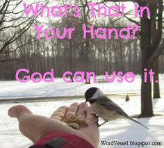 If God can use the staff of Moses to become the miracle-producing rod of God, He can also use what's in your hand. http://wordvessel.blogspot.com/2014/02/whats-that-in-your-hand.html