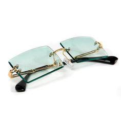 Rimless Turquoise Tint Sunglasses on Mercari Cute Couple Outfits, Mens Glasses Frames, Rimless Glasses, Fashion Eye Glasses, Retro, Mocha Brown, Summer Sunglasses, Rectangle Sunglasses, Vintage Fashion
