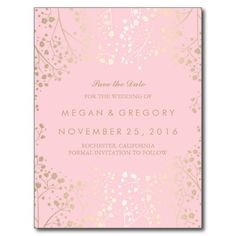 baby's breath gold and pink save the date