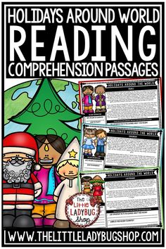 Grow your students with this Holidays Around the World Reading Comprehension. These Holiday Passages include 7 Holidays [Christmas, Las Posadas, Hanukkah, Kwanzaa, La Befana, St. Lucia & Diwali] for Reading Comprehension. These are Perfect for: Warm-up, Bell Work, Homework, or quick assessments. These passages works perfectly for students in 3rd grade, and 4th grade and home schooling. #christmasaroundtheworld #holidaysaroundtheworld #christmasactivities #christmasreadingpassages