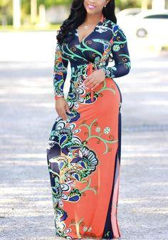 a3f94b358e016d Orange Floral Print Belt V-neck Slits On Both Sides Bohemian Beach Midi  Dress