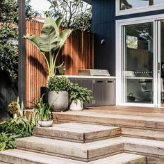 This landscape design on Sydney's Northern Beaches was designed to suit our clients' love of entertaining and hands-on gardening. Australian Garden Design, Australian Native Garden, Outdoor Plants, Outdoor Gardens, Side Gardens, Garden Bbq Ideas, Full Sun Garden, Modern Backyard, Outside Living
