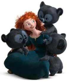 Merida and the three bear-brothers - Brave Disney Pixar, Disney Animation, Disney And Dreamworks, Disney Cartoons, Disney Art, Walt Disney, Disney Characters, Disney Wiki, Brave Merida