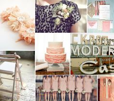 navy and peach... peach for the bridesmaids dresses is pretty too... if cream doesn't workout