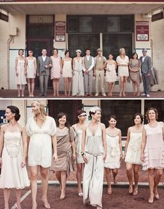 Are You A Fan Of Vintage Style? Then How About A Great Gatsby Wedding Theme … so cool, but I would never do it Neutral Bridesmaid Dresses, Wedding Dresses, Bridesmaids, Wedding Attire, Prom Dresses, Wedding Trends, Wedding Styles, Wedding Ideas, Wedding Pins