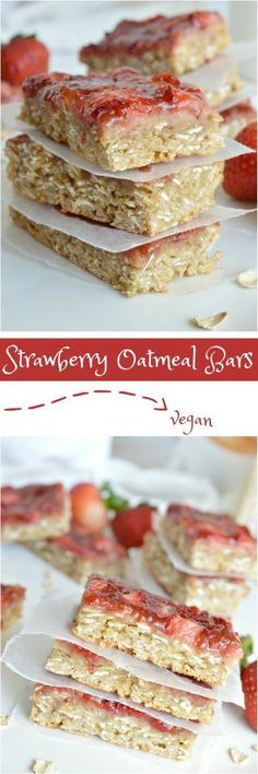 You don\'t have to be vegan to enjoy these Strawberry Oatmeal Vegan Breakfast Bars. The chewy oatmeal bars topped with fresh strawberries and jam are a nutritious way to start your day! This also makes a great healthy snack or breakfast on the go! A great vegan recipe that everyone will love!