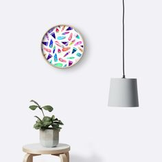 'Candy Feather Pattern' Clock by amayabrydon Watercolor Feather, Feather Pattern, Clocks, Feathers, Bohemian, Colorful, Candy, Stickers, Wall Art