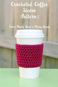 Crochet Pattern Free Crocheted Coffee Sleeve in Dark Pink- Coffee Cozy- Java Jacket Crochet Simple, Easy Crochet Patterns, Free Crochet, Crochet Ideas, Tutorial Crochet, Beginner Crochet Projects, Crochet For Beginners, Coffee Cozy Pattern, Crochet Coffee Cozy