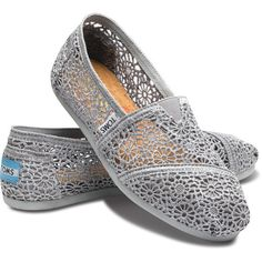 TOMS Silver Crochet Classic Women Shoes 9 ($58) ❤ liked on Polyvore featuring shoes, flats, toms, sneakers, women, crochet flat shoes, flat heel shoes, macrame shoes, bright shoes and crochet flats