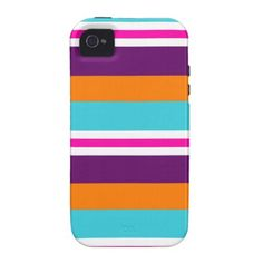 Fun Summer Pink Teal Orange Purple Striped Pattern iPhone 4/4S Cases SOLD on Zazzle