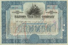 Great interurban streetcar collectible - Illinois Traction Company stock certificate The company oversaw the capital of the Illinois Terminal Rail system. Money Frame, Money Template, William Mckinley, Passport Card, Granite City, Brick Paving, Money Notes, Central Illinois, Retro Vector