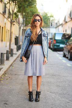 midi skirt + crop top + denim jacket | stellawantstodie http://fashioncognoscente.blogspot.com